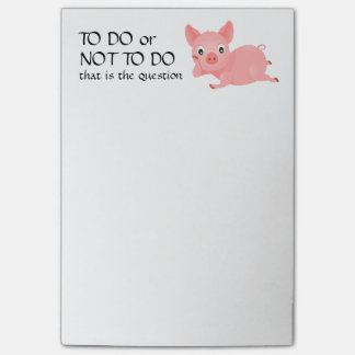 Pondering Pig Funny To Do List Post-it® Notes