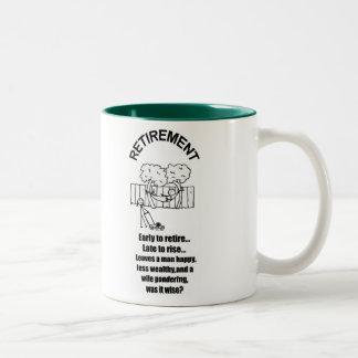 PONDERING RETIREMENT   Two-Tone COFFEE MUG