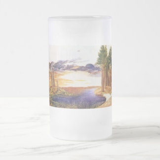 Ponds in the forest frosted glass beer mug