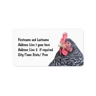 Ponedora barrada imagen de la roca del pollo etiqueta de dirección
