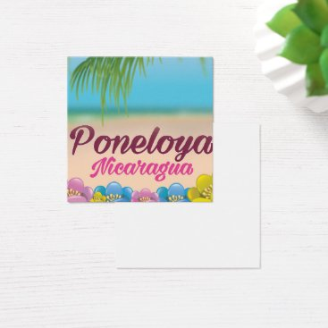 Beach Themed Poneloya nicaragua beach travel poster square business card