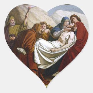 Ponen a Jesús en las estaciones de la tumba de la Pegatina En Forma De Corazón