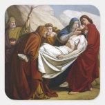 Ponen a Jesús en las estaciones de la tumba de la Calcomanía Cuadradas