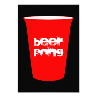 pong de la cerveza taza roja del fiesta invitacion personalizada
