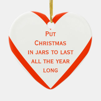Ponga el navidad en tarros al lastall el año de adorno navideño de cerámica en forma de corazón