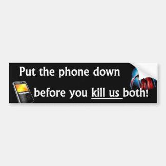 Ponga el teléfono en el suelo pegatina de parachoque