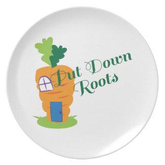 Ponga las raíces en el suelo plato de cena