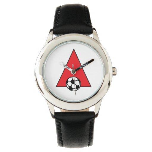 Ponga letras a un monograma en rojo del fútbol reloj
