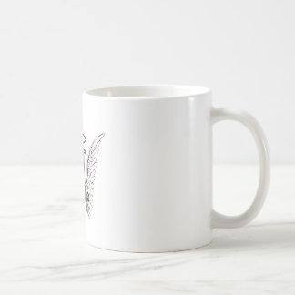 Ponga letras a un monograma inicial con las alas y taza clásica