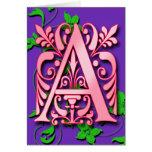 Ponga letras a un monograma para rubricar en tarje tarjetas