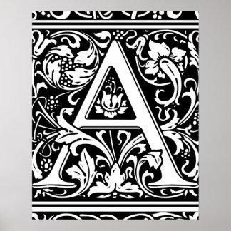 Ponga letras a una inicial medieval del vintage póster