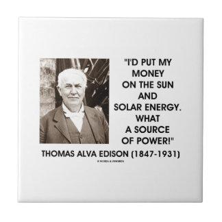 Ponga mi dinero en la fuente de energía solar de azulejo cuadrado pequeño