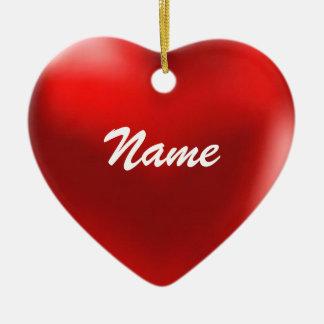 Ponga su corazón conocido del ornamento adorno navideño de cerámica en forma de corazón