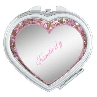Ponga su diseño compacto del corazón del doble del espejo maquillaje