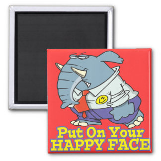 ponga su elefante feliz de la fachada de la cara imán cuadrado