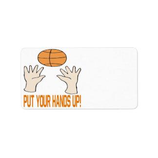 Ponga sus manos etiqueta de dirección