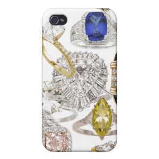 Ponga un anillo en él joyería Bling del boda del c iPhone 4 Fundas