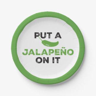 Ponga un Jalapeño en él la placa de papel de Tejas Plato De Papel De 7 Pulgadas