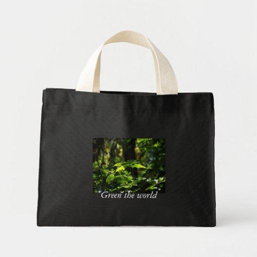 Ponga verde el mundo bolsas de mano