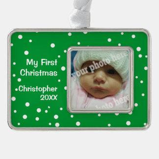 Ponga verde mi ornamento de encargo de la foto del adornos navideños