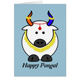 Pongal Cow with Garland Card