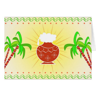 Pongal pot and sugarcane card