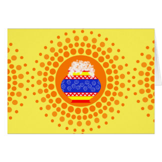 Pongal Pot and Sun Design Greeting Card