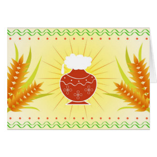 Pongal pot and wheat card