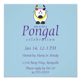 Pongal Pot, Cow, and Tree Invitation