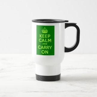 Póngase verde guardan calma y continúan taza de viaje de acero inoxidable