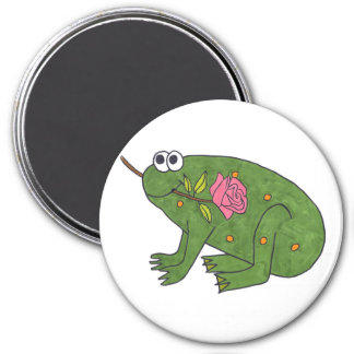 Pongo Frog with Rose (Magnet) 3 Inch Round Magnet