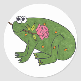 Pongo Frog with Rose (Round Stickers) Classic Round Sticker
