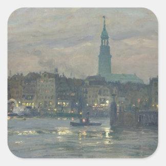 Poniendo en las luces, 1904 pegatina cuadrada