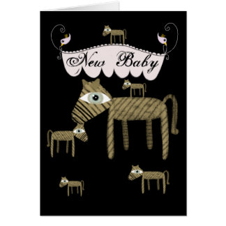 Ponies birds carrousel etsy new baby greeting card
