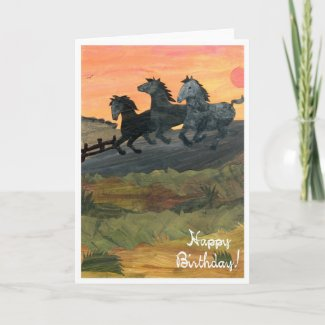 'Ponies' Birthday Card card