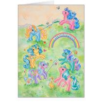 Ponies Catching Butterflies Card