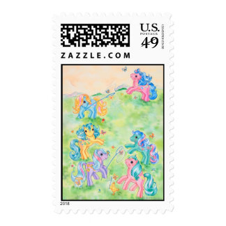 Ponies Catching Butterflies Postage