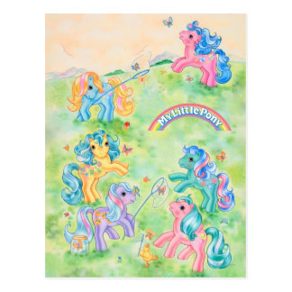 Ponies Catching Butterflies Postcard