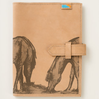 ponies grazing Leather Journal