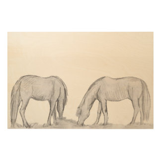 ponies grazing together wood print