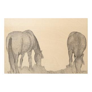 ponies grazing wood print