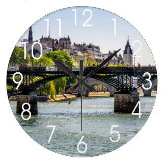 Pont des Arts, río el Sena en París, Francia Reloj Redondo Grande