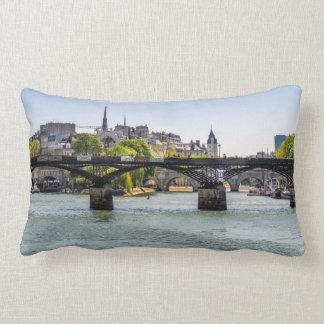 Pont Des Arts, River Seine in Paris, France Lumbar Pillow