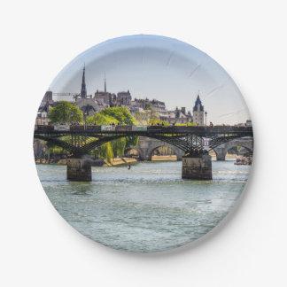 Pont Des Arts, River Seine in Paris, France Paper Plate