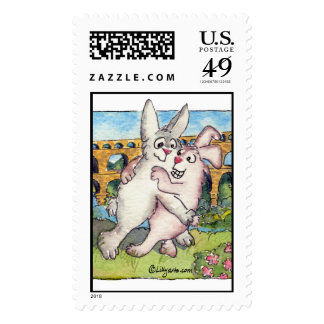 Pont du Gard Rabbits Dancing Custom Postage Stamps