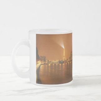 Pont Mirabeau Paris France Night Skyline Panorama 10 Oz Frosted Glass Coffee Mug