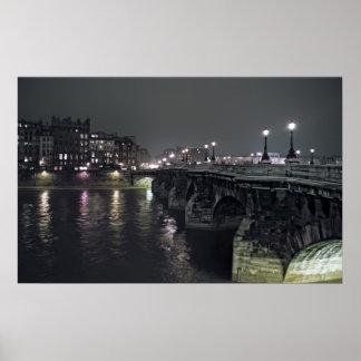 PONT NEUF BRIDGE at NIGHT - PARIS FRANCE Poster