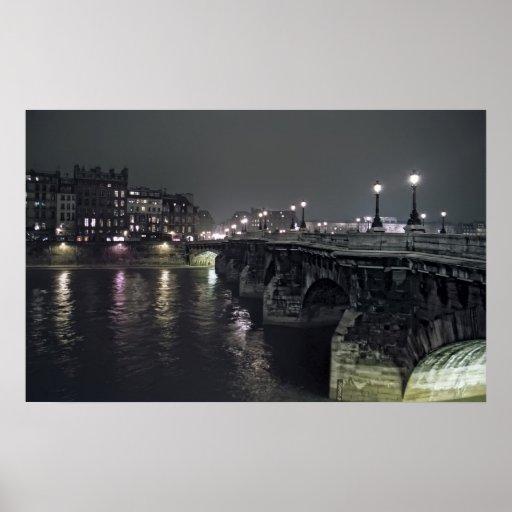 PONT NEUF BRIDGE at NIGHT - PARIS FRANCE Posters
