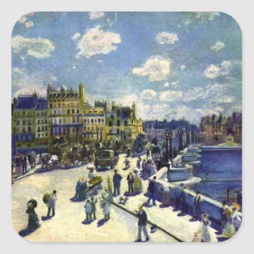 Pont-Neuf by Pierre Renoir Square Stickers