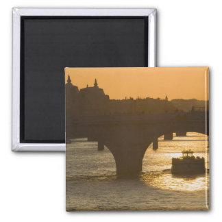 Pont Neuf, el Sena, puesta del sol, París, FranceM Imán Cuadrado